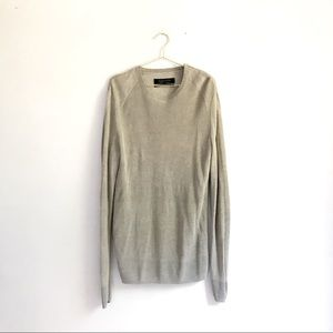All Saints Grey Linen Knit Men's Pullover Sweater
